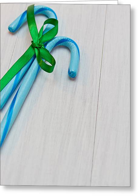 Hard Candies Greeting Cards - Blue Christmas Greeting Card by Teri Virbickis
