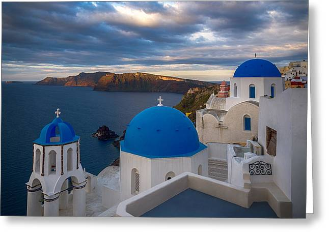 Thirasia Greeting Cards - Blue Church in Oia Santorini Greeting Card by Panagiotis Assonitis