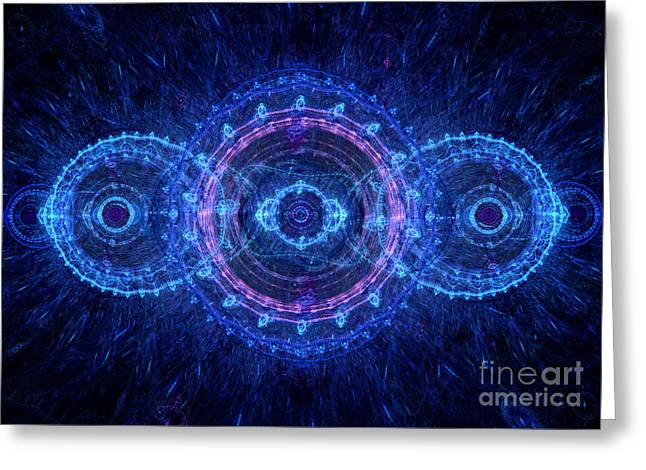 Industrial Background Digital Art Greeting Cards - Blue circle fractal Greeting Card by Martin Capek