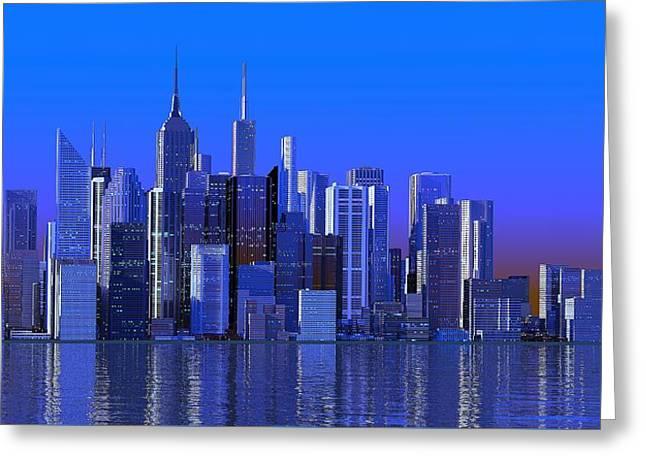 Louis Ferreira Art Greeting Cards - Blue City Greeting Card by Louis Ferreira