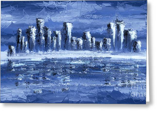 Blue City Greeting Card by Svetlana Sewell