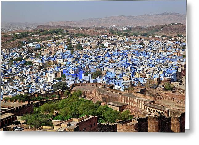 Blue City Viewed From Mehrangarh Fort / Greeting Card by Adam Jones
