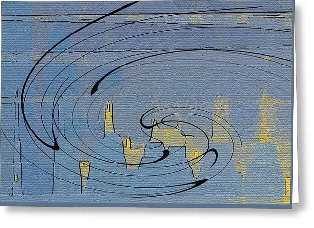 Abstract Geometric Greeting Cards - Blue Cityscape Greeting Card by Ben and Raisa Gertsberg