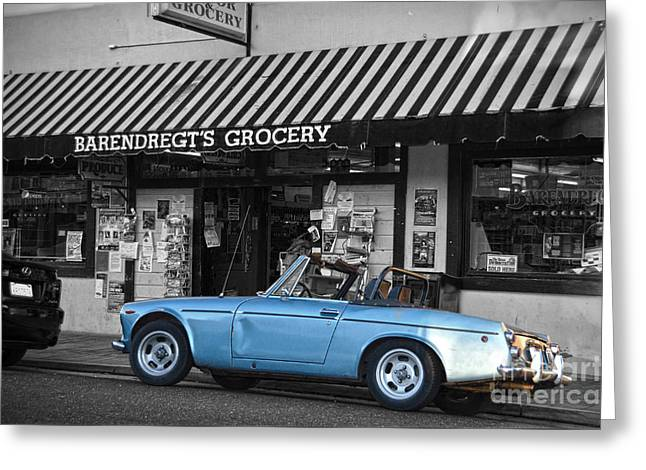 Gallows Greeting Cards - Blue classic car in Jamestown Greeting Card by RicardMN Photography
