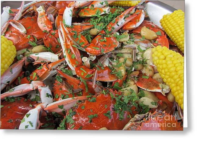 Menu Greeting Cards - Blue Claw Crabs - Clementes Crab House Greeting Card by Susan Carella