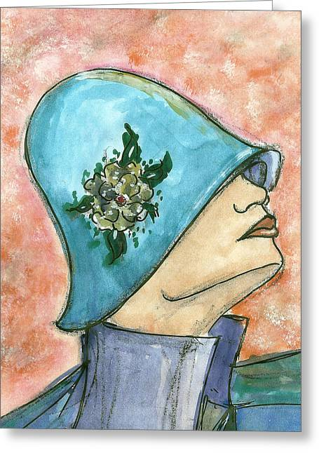 Cloche Hat Greeting Cards - Blue Cloche Hat Greeting Card by Tanysha Bennett-Wilson