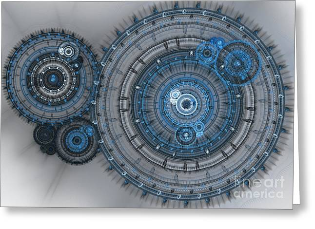 Industrial Background Digital Art Greeting Cards - Blue clockwork machine Greeting Card by Martin Capek
