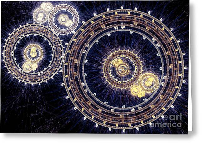 Industrial Background Digital Art Greeting Cards - Blue clockwork Greeting Card by Martin Capek