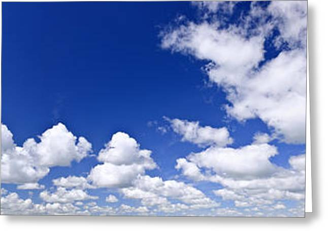 Dreamy Photographs Greeting Cards - Blue cloudy sky panorama Greeting Card by Elena Elisseeva
