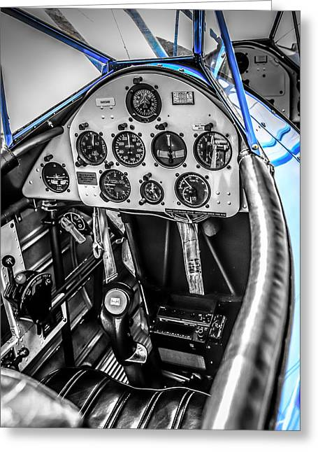 Us Army Air Corp Greeting Cards - Blue Cockpit Greeting Card by Chris Smith