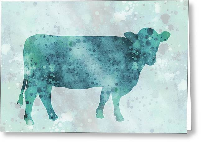 Recently Sold -  - Abstract Digital Mixed Media Greeting Cards - Blue Color Splash Cow Greeting Card by Ann Powell