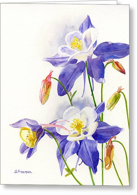 Blue Columbine Blossoms Greeting Card by Sharon Freeman