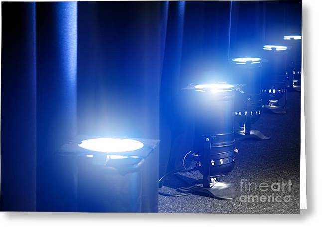A. Paré Greeting Cards - Blue concert PAR lights on floor Greeting Card by Gregory DUBUS