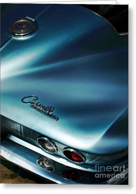 Collector Car Mixed Media Greeting Cards - Blue Corvette Greeting Card by M and L Creations