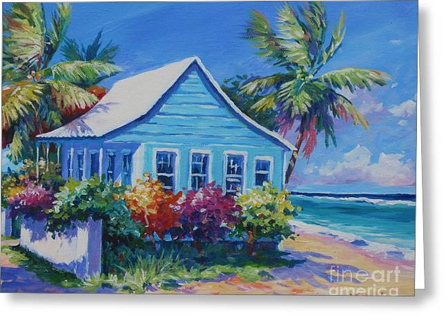 Floral Art Paintings Greeting Cards - Blue Cottage on the Beach Greeting Card by John Clark