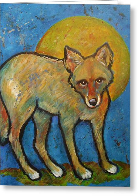 Brush Wolf Greeting Cards - Blue Coyote and the Full Moon Greeting Card by Carol Suzanne Niebuhr