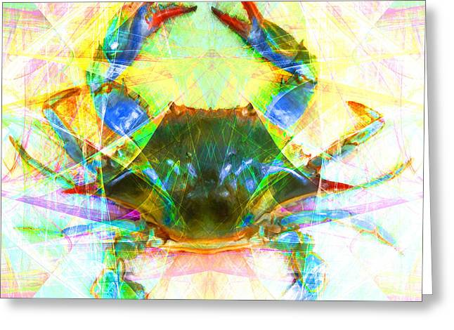Snorkel Digital Greeting Cards - Blue Crab 20140206v1 Greeting Card by Wingsdomain Art and Photography