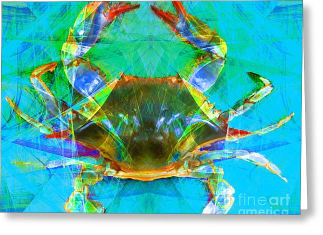 Snorkel Digital Greeting Cards - Blue Crab 20140206v2 Greeting Card by Wingsdomain Art and Photography