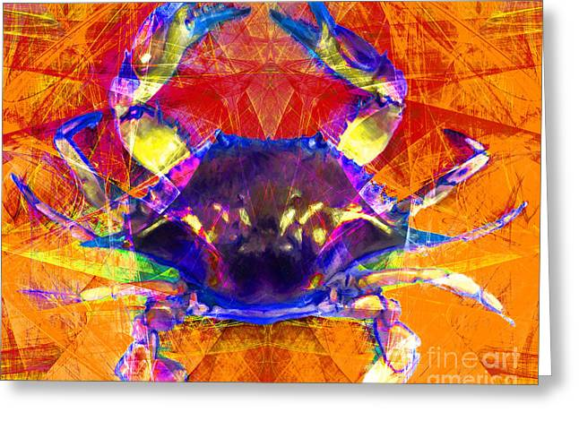 Snorkel Digital Greeting Cards - Blue Crab 20140206v2m160 Greeting Card by Wingsdomain Art and Photography