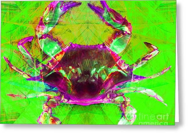 Snorkel Digital Greeting Cards - Blue Crab 20140206v2m88 Greeting Card by Wingsdomain Art and Photography