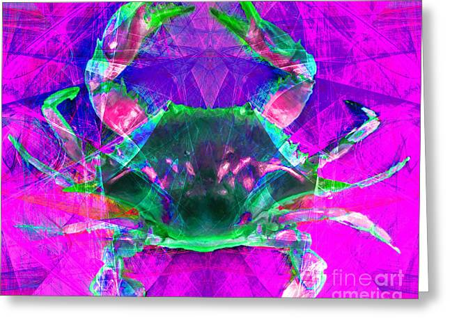 Snorkel Digital Greeting Cards - Blue Crab 20140206v2p108 Greeting Card by Wingsdomain Art and Photography