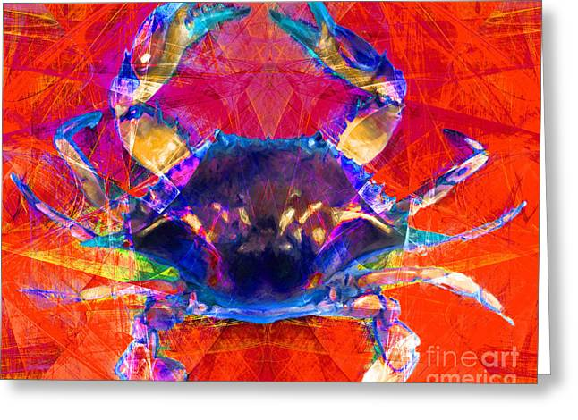 Snorkel Digital Greeting Cards - Blue Crab 20140206v2p180 Greeting Card by Wingsdomain Art and Photography