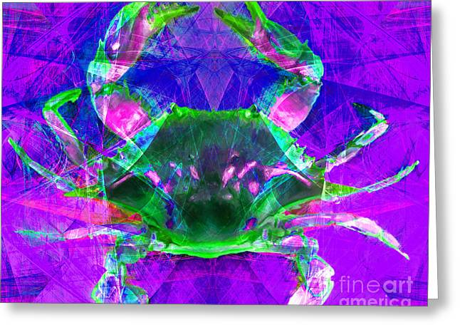 Snorkel Digital Greeting Cards - Blue Crab 20140206v2p88 Greeting Card by Wingsdomain Art and Photography