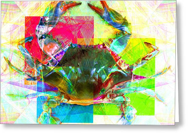 Snorkel Digital Greeting Cards - Blue Crab 20140206v3 Greeting Card by Wingsdomain Art and Photography