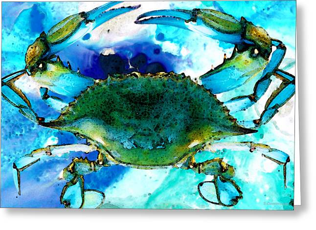 Louisiana Greeting Cards - Blue Crab - Abstract Seafood Painting Greeting Card by Sharon Cummings