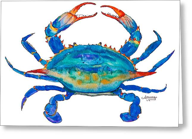 Beach Decor Paintings Greeting Cards - Blue Crab Greeting Card by Alexandra Nicole Newton