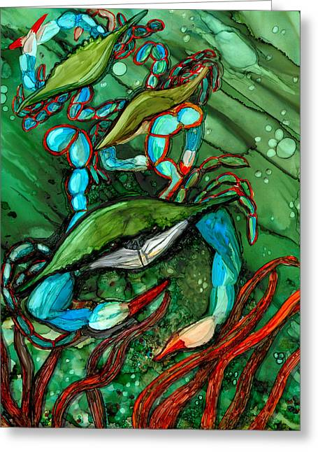 Alcohol Inks Greeting Cards - Blue Crab Ballet Greeting Card by Elaine Hodges