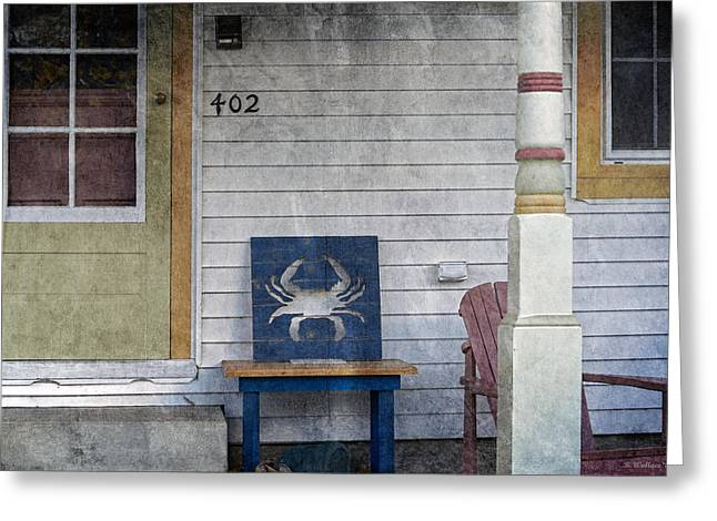 Lawn Chair Digital Greeting Cards - Blue Crab Chair Greeting Card by Brian Wallace