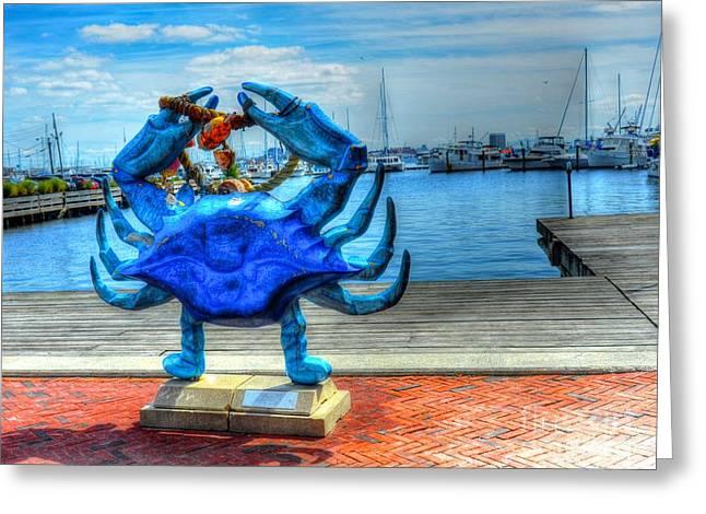 Blue Crab Greeting Card by Debbi Granruth