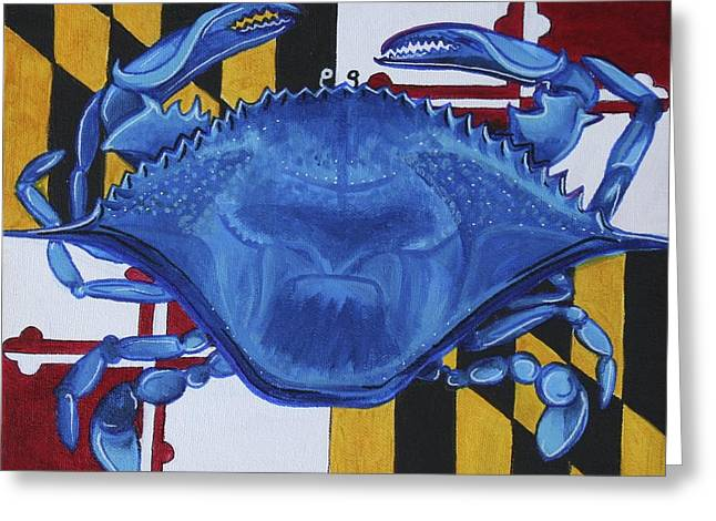 Md Paintings Greeting Cards - Blue Crab Greeting Card by Kate Fortin