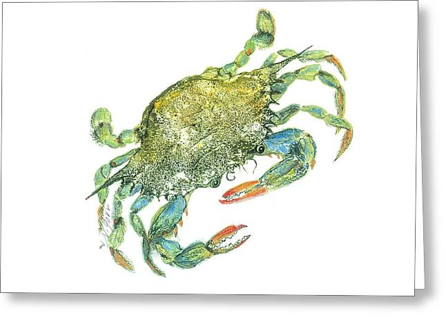 Preditor Greeting Cards - Blue Crab Greeting Card by Nancy Gorr