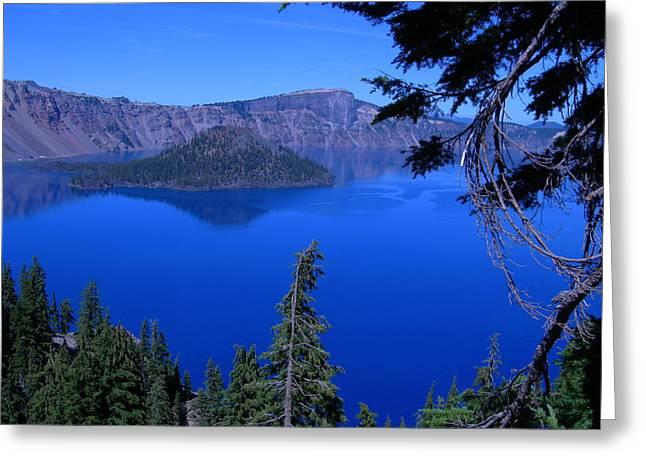 Crater Lake Artwork Greeting Cards - Blue Crater Lake Greeting Card by Roberta Hayes