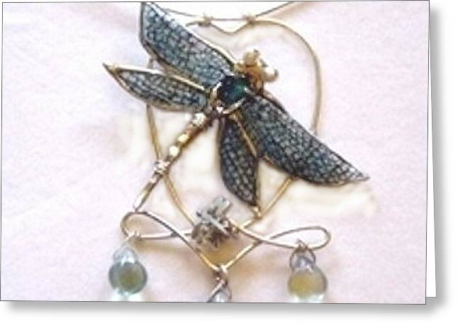 Nouveau Sculptures Greeting Cards - Blue Crazed Dragonfly Pendant Greeting Card by Arlene Delahenty