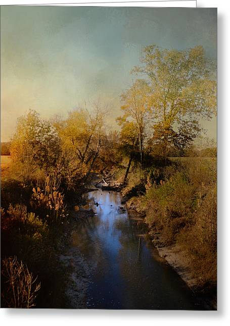Fall Scenes Greeting Cards - Blue Creek In Autumn Greeting Card by Jai Johnson