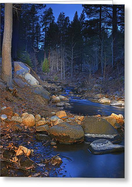 Woodland Scenes Greeting Cards - Blue Creek Greeting Card by Maria Coulson