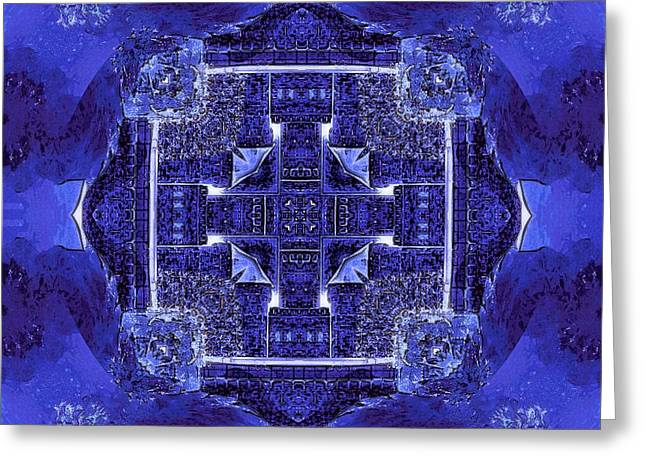 Hallucination Greeting Cards - Blue Cross Radiance Greeting Card by David Mckinney