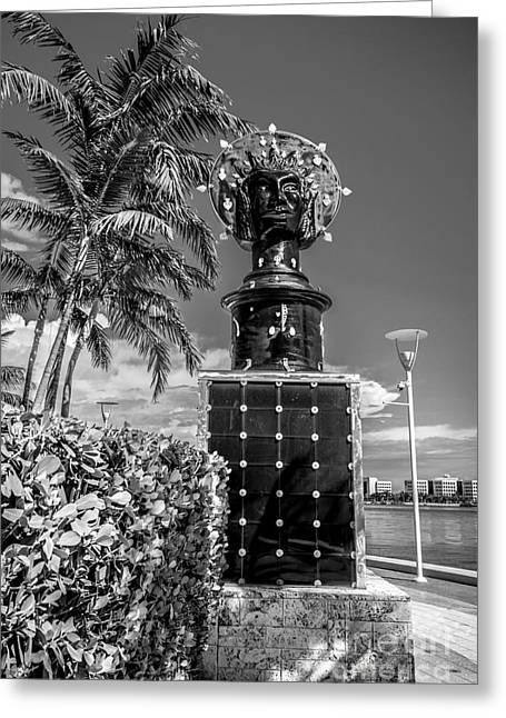Statue Portrait Photographs Greeting Cards - Blue Crown statue Miami downtown - Black and White Greeting Card by Ian Monk