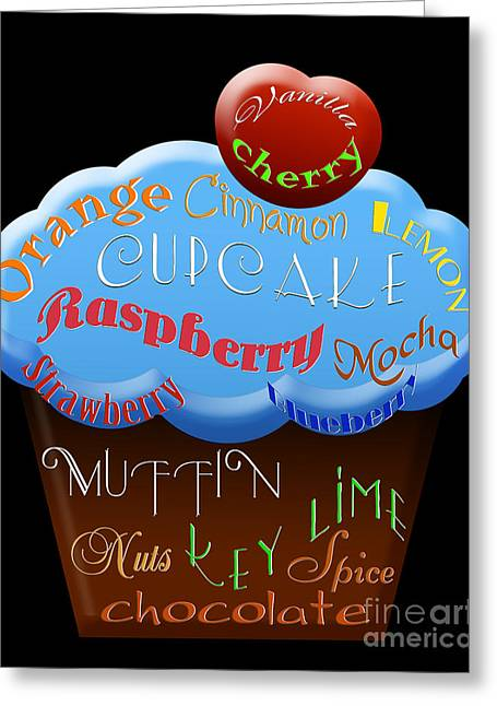 Orange And Brown Designs Greeting Cards - Blue Cupcake Typography Greeting Card by Andee Design