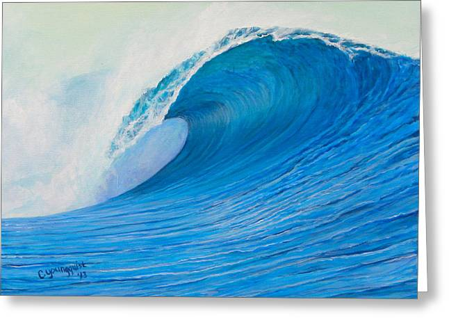 Surfing Art Greeting Cards - Blue Curl Greeting Card by Camille Youngquist