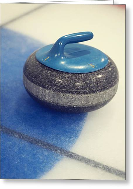 Curl Greeting Cards - Blue Curling Stone Greeting Card by Priska Wettstein