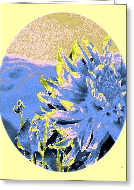 Blue Oval Greeting Cards - Blue Dahlia Watercolor Greeting Card by Will Borden