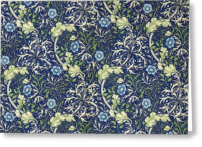 Foliage Tapestries - Textiles Greeting Cards - Blue Daisies Design Greeting Card by William Morris
