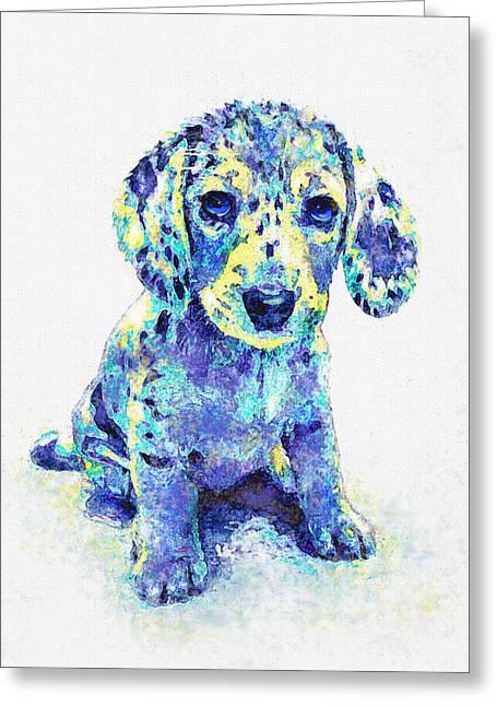 Puppy Digital Greeting Cards - Blue Dapple Dachshund Puppy Greeting Card by Jane Schnetlage