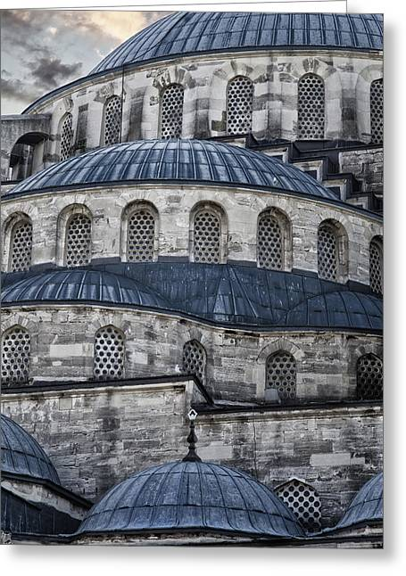 Blue Dawn Blue Mosque Greeting Card by Joan Carroll