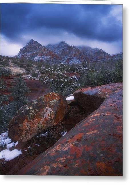 Oak Creek Greeting Cards - Blue Dawn Greeting Card by Peter Coskun
