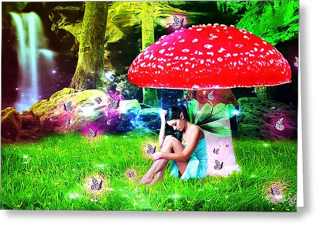 Pierre Chamblin Greeting Cards - Blue Day In Fairy Land Greeting Card by Pierre Chamblin